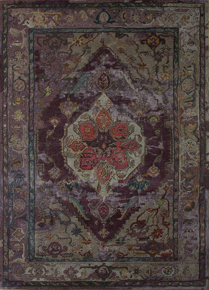 TAQ-637 Tulip Purple/Dark Gray pink and purple wool and viscose hand tufted Rug