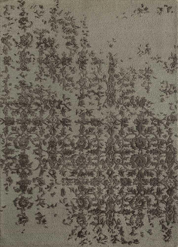 TAQ-639 Medium Gray/Liquorice grey and black wool and viscose hand tufted Rug