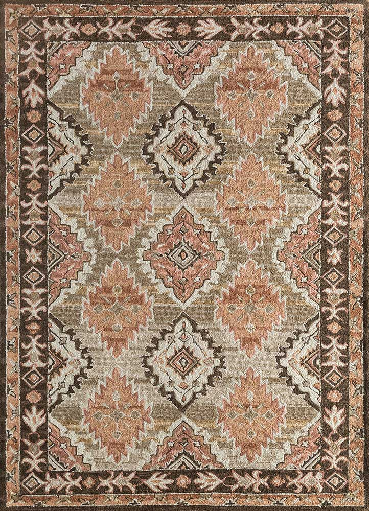 TLA-4053(CM-01) Cloud White/Burnt Red ivory wool hand tufted Rug