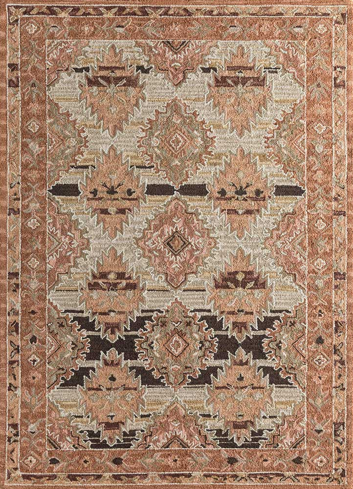 TLA-4053(CM-01) Soft Beige/Soft Coral beige and brown wool hand tufted Rug