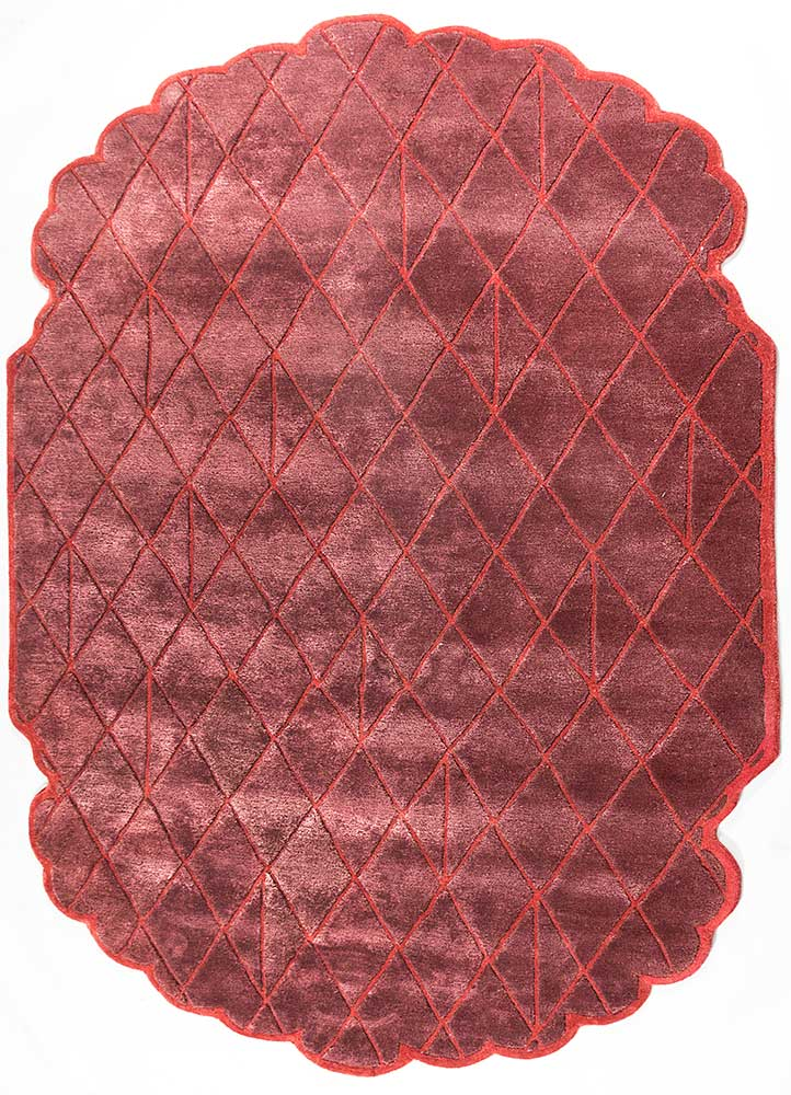 Royal Patio red and orange wool and viscose hand tufted Rug