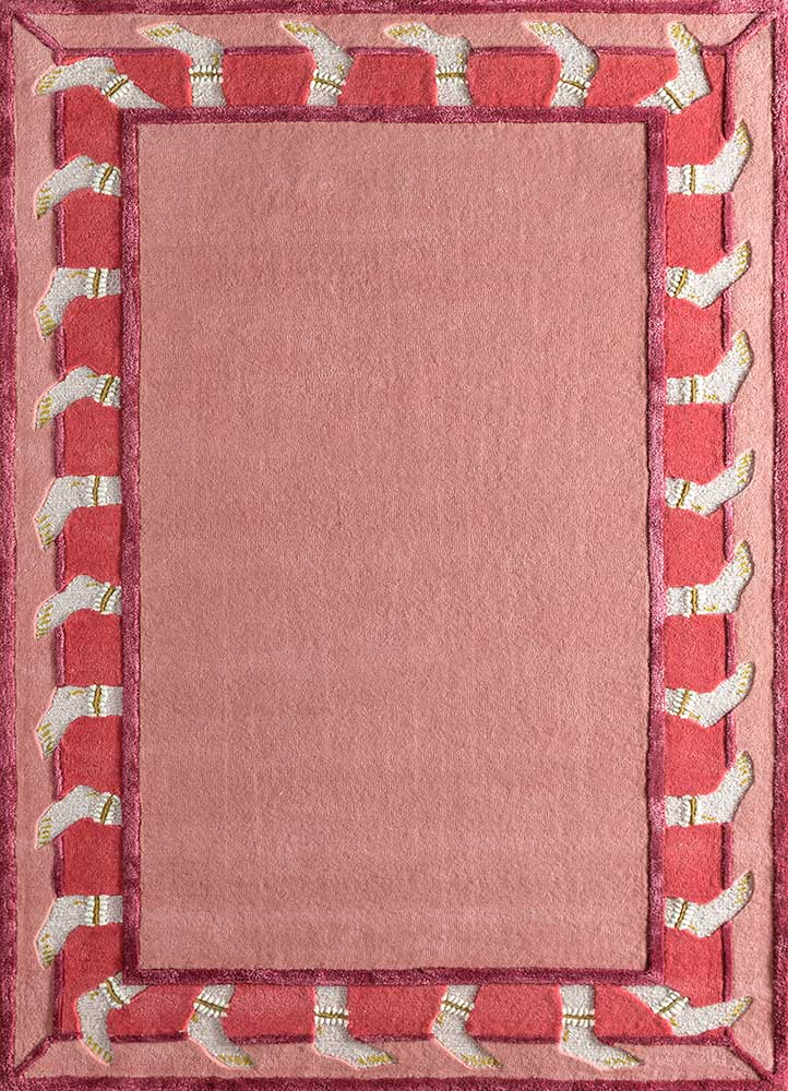 TOP-107 Cranberry/Cranberry red and orange wool and viscose hand tufted Rug