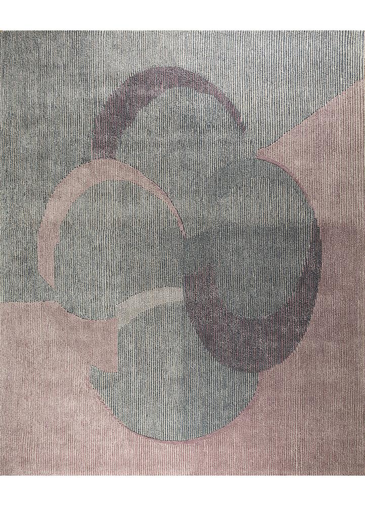 jaipur wunderkammer pink and purple wool and viscose hand tufted Rug - HeadShot