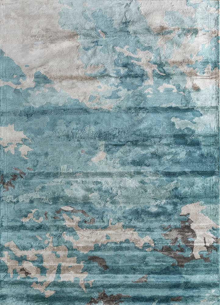 TPV-387 (CS-01)(MD) Sea Mist Green/Antique White blue viscose hand tufted Rug