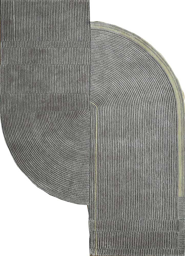 TRA-1129 Light Smoke Gray/Nickel blue wool and viscose hand tufted Rug