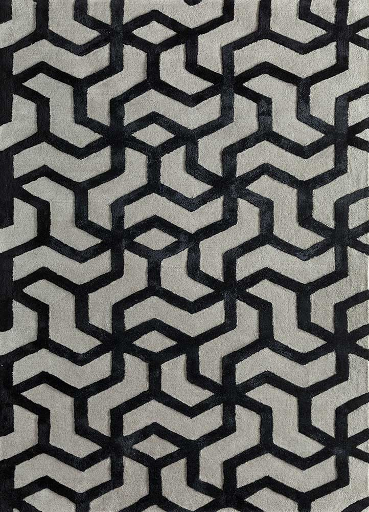 TRA-13052 Classic Gray/Ebony grey and black wool and viscose hand tufted Rug