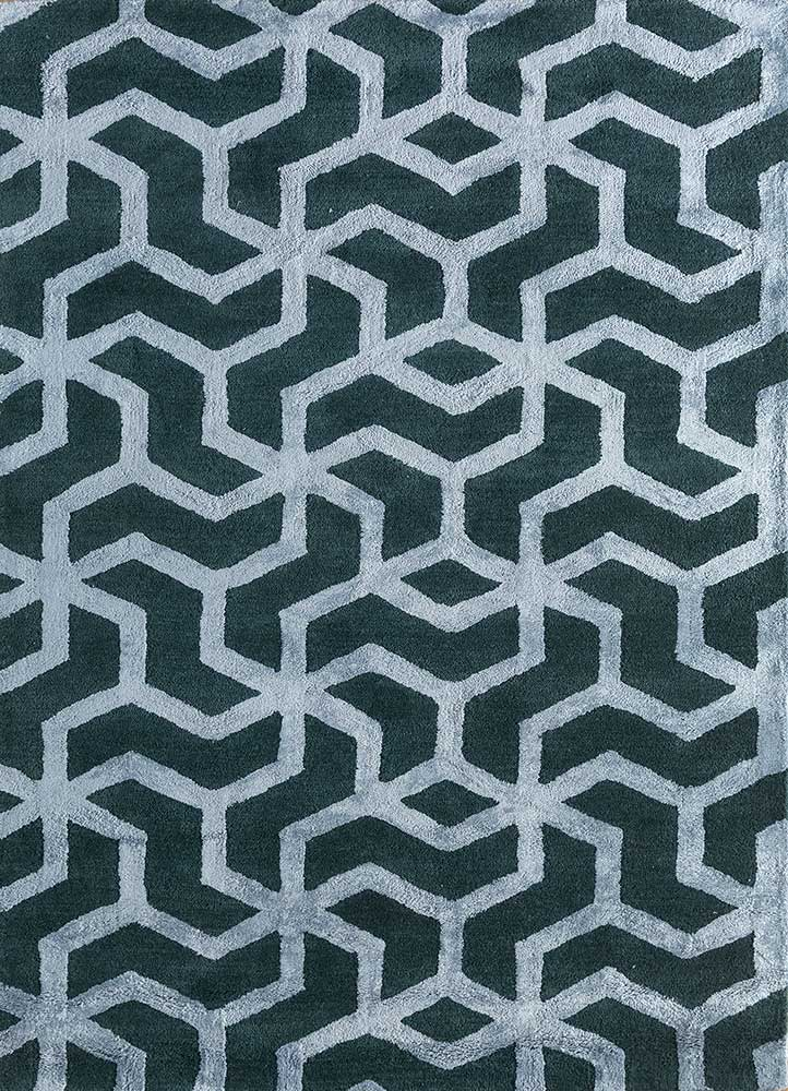 contour blue wool and viscose hand tufted Rug - HeadShot