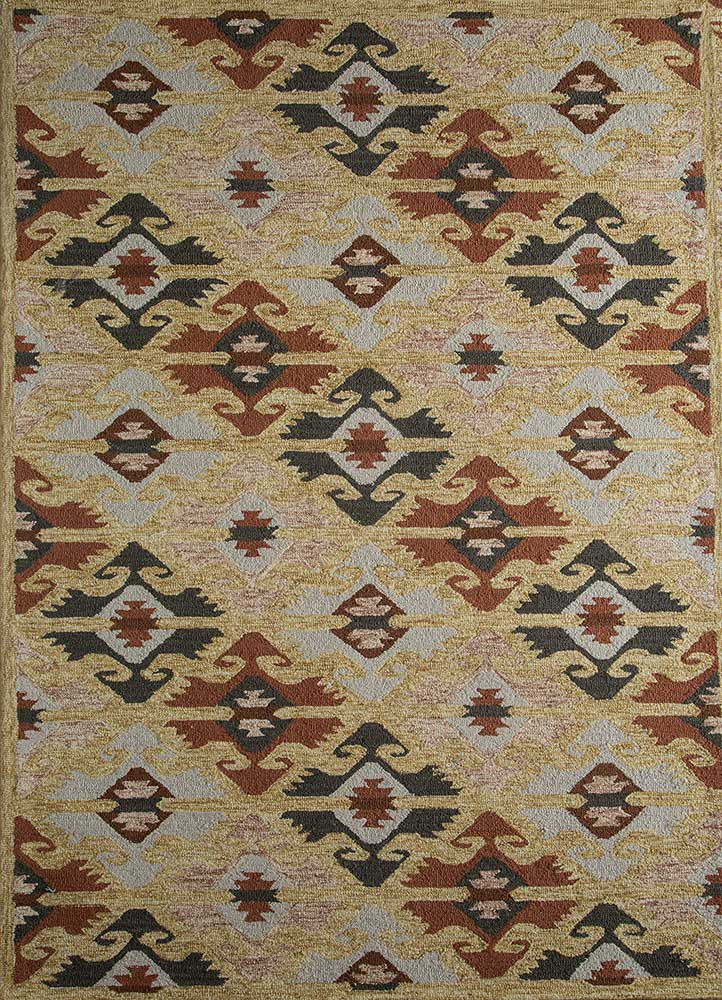 TRA-13085 Linen/Antique Green ivory wool hand tufted Rug