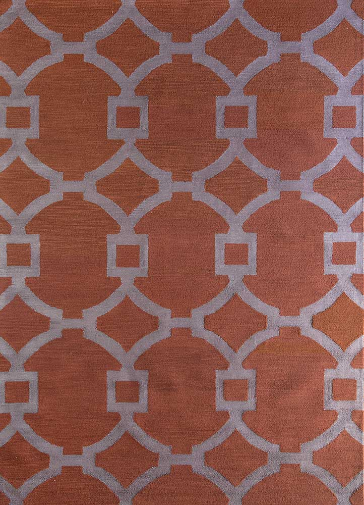 contour red and orange wool and bamboo silk hand tufted Rug - HeadShot