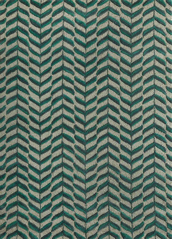 coastal green wool hand tufted Rug - HeadShot