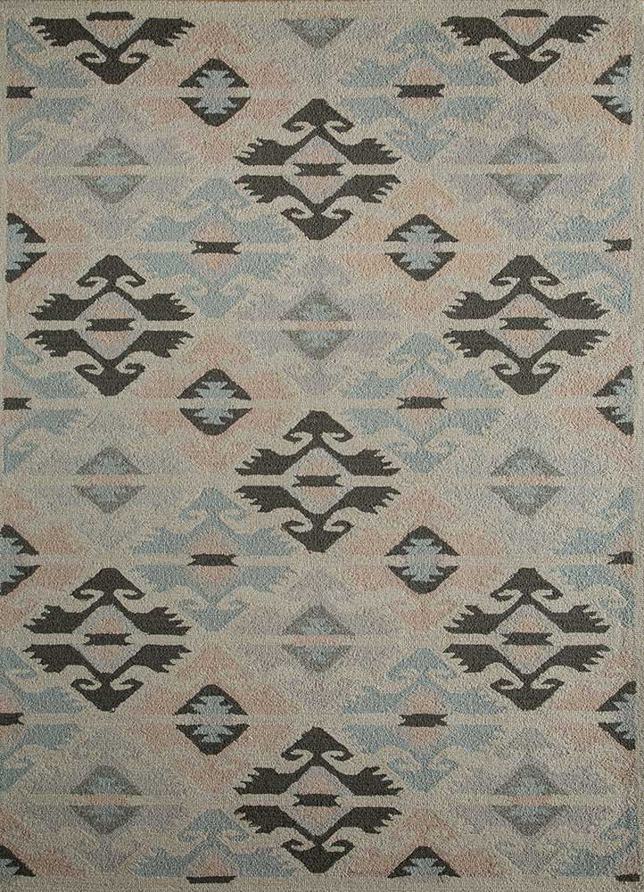mythos blue wool and bamboo silk hand tufted Rug - HeadShot