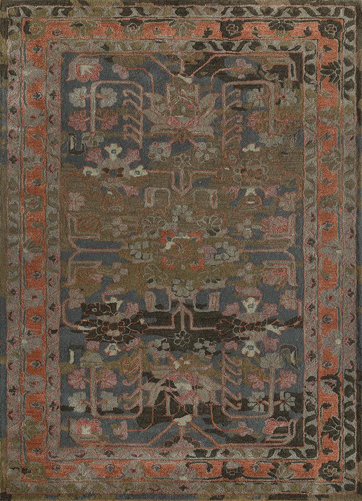 TRA-13190 Marine Blue/Medium Gray blue wool and bamboo silk hand tufted Rug