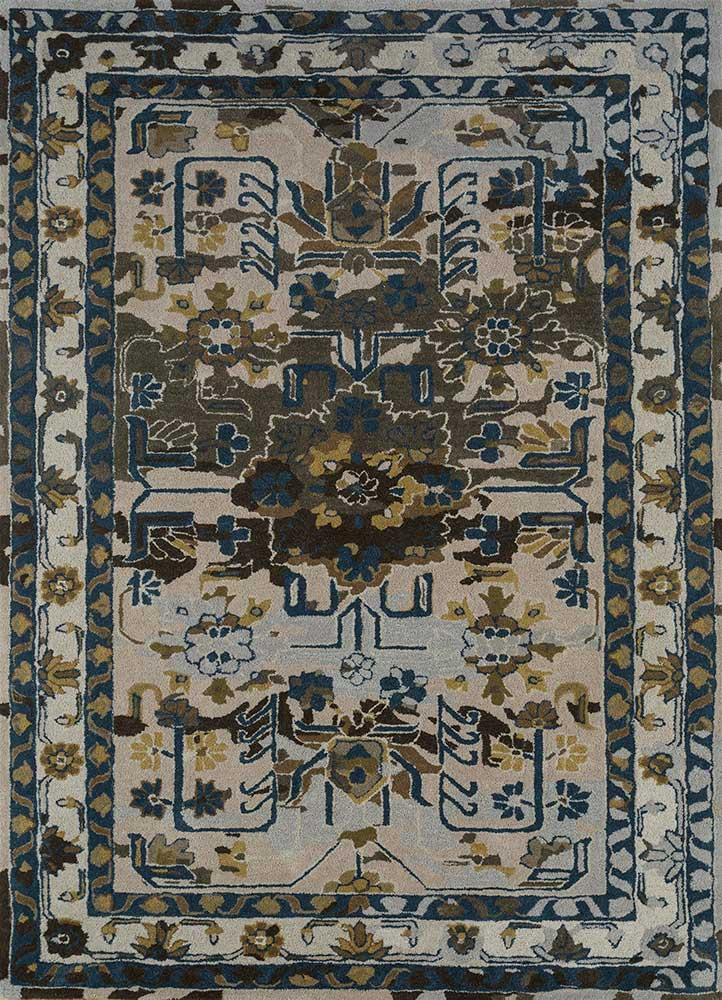 kilan blue wool hand tufted Rug - HeadShot