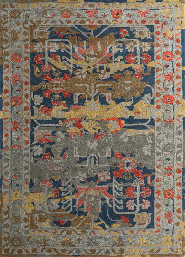 TRA-13190 Wheat/Indigo beige and brown wool hand tufted Rug