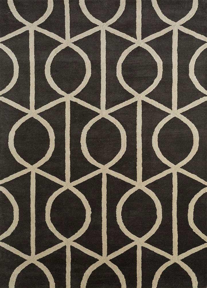 TRA-13232 Deep Charcoal/Turmeric grey and black wool hand tufted Rug