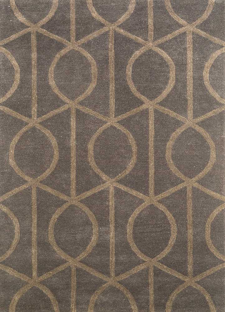 contour grey and black wool hand tufted Rug - HeadShot