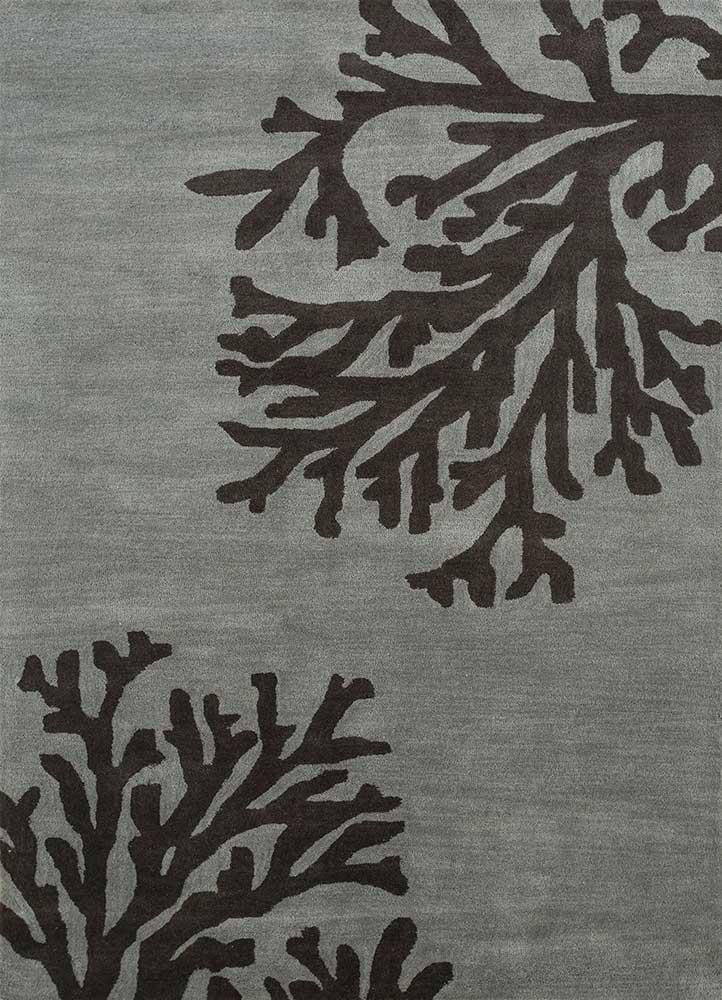coastal grey and black wool hand tufted Rug - HeadShot