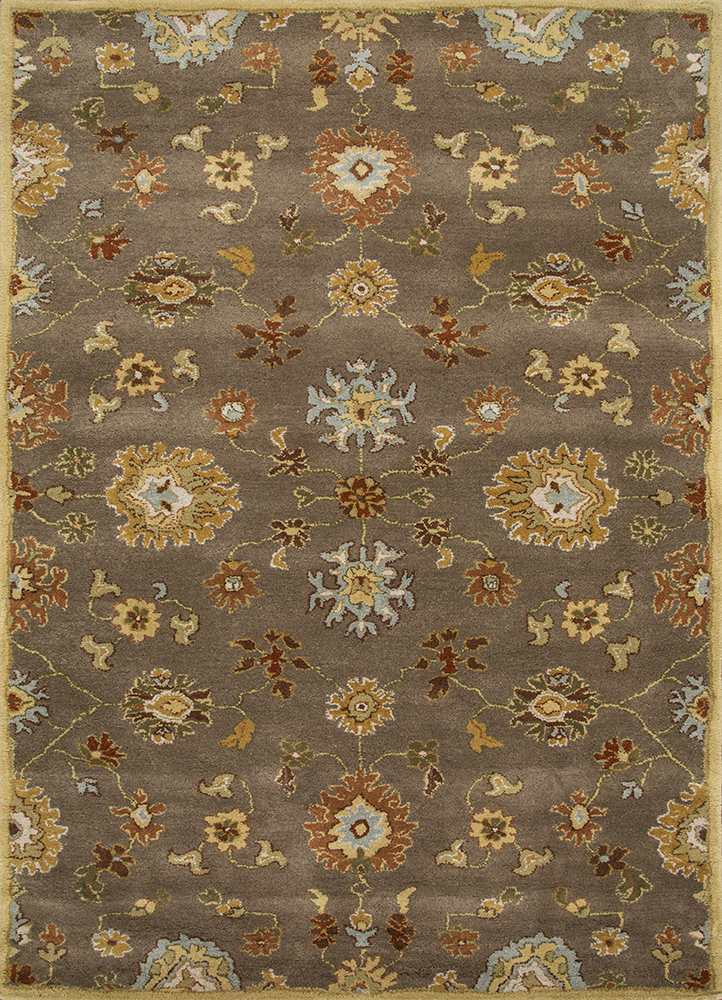 TRA-16 Gray Brown/Gray Brown beige and brown wool hand tufted Rug