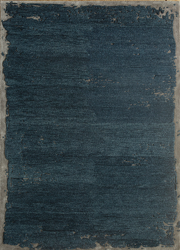 TRA-3204 Indigo Blue/Charcoal Slate blue wool and viscose hand tufted Rug