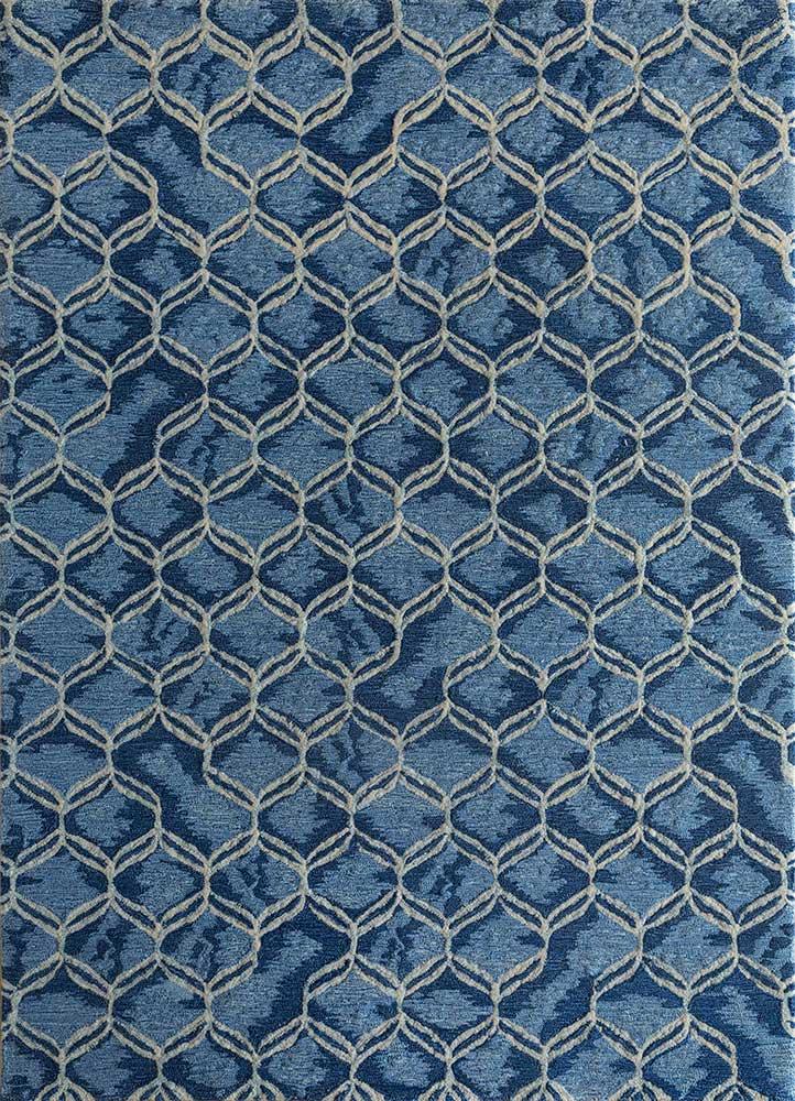 contour blue wool hand tufted Rug - HeadShot