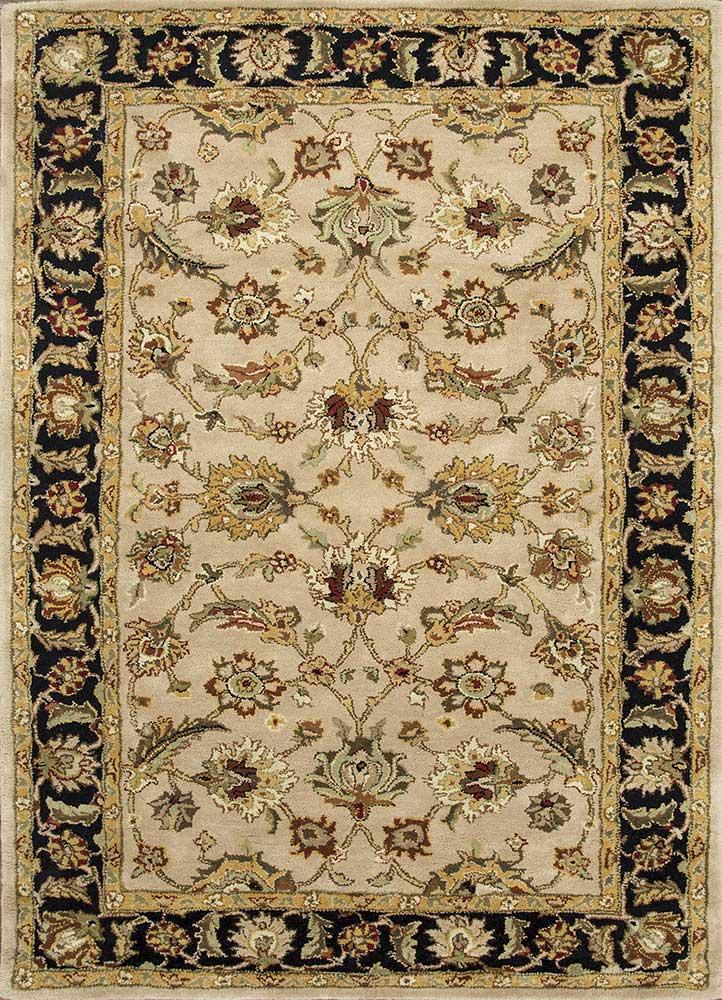 TRC-138 Beige/Ebony beige and brown wool hand tufted Rug