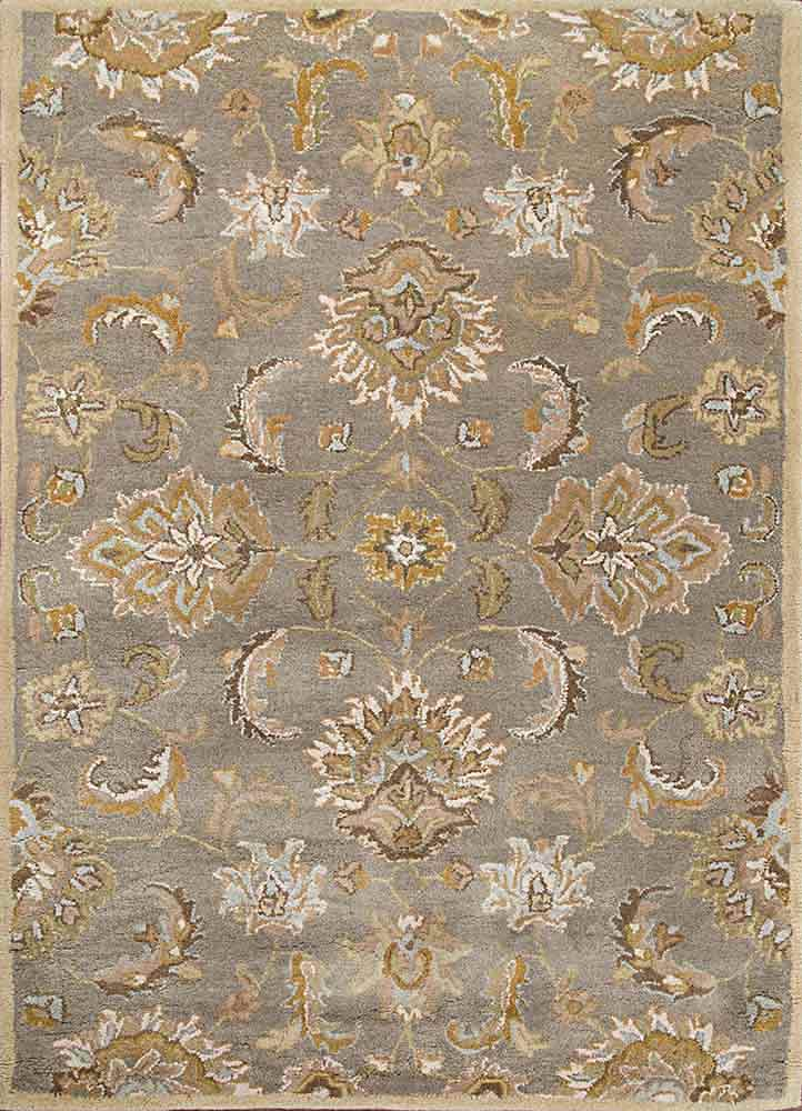 TRC-626 Silver Gray/Soft Gold beige and brown wool hand tufted Rug