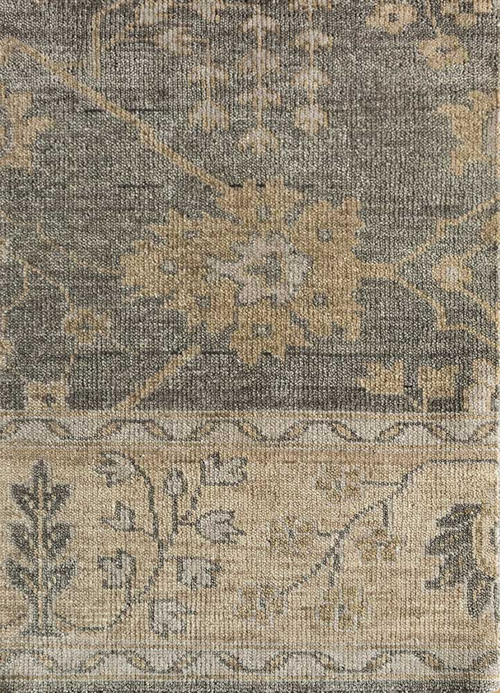 liberty grey and black wool hand knotted Rug - HeadShot