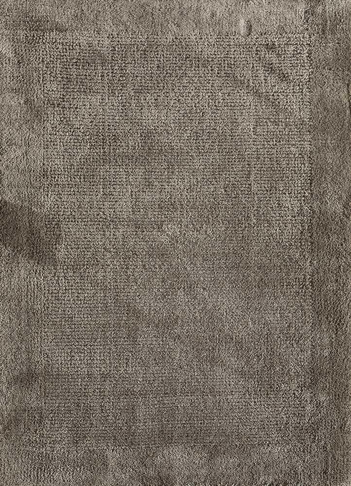 basis grey and black wool and silk hand loom Rug - HeadShot