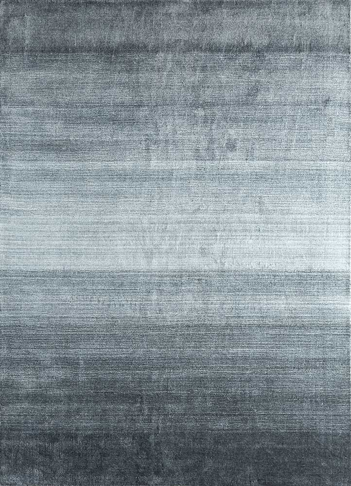 tesoro grey and black wool and viscose hand loom Rug - HeadShot