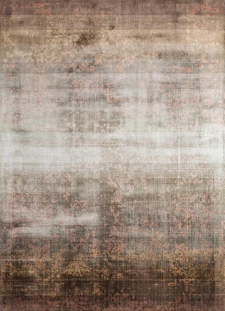 oxford beige and brown viscose hand loom Rug - HeadShot