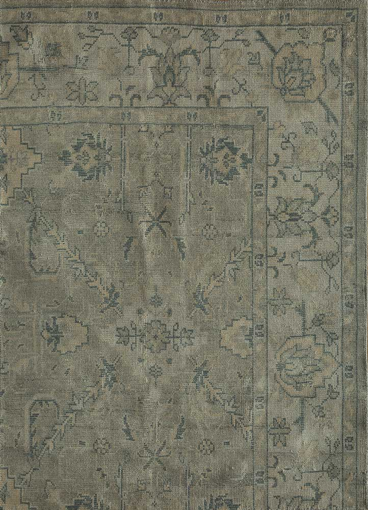liberty blue polyester hand knotted Rug - HeadShot