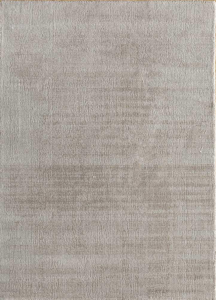konstrukt grey and black wool and bamboo silk hand loom Rug - HeadShot