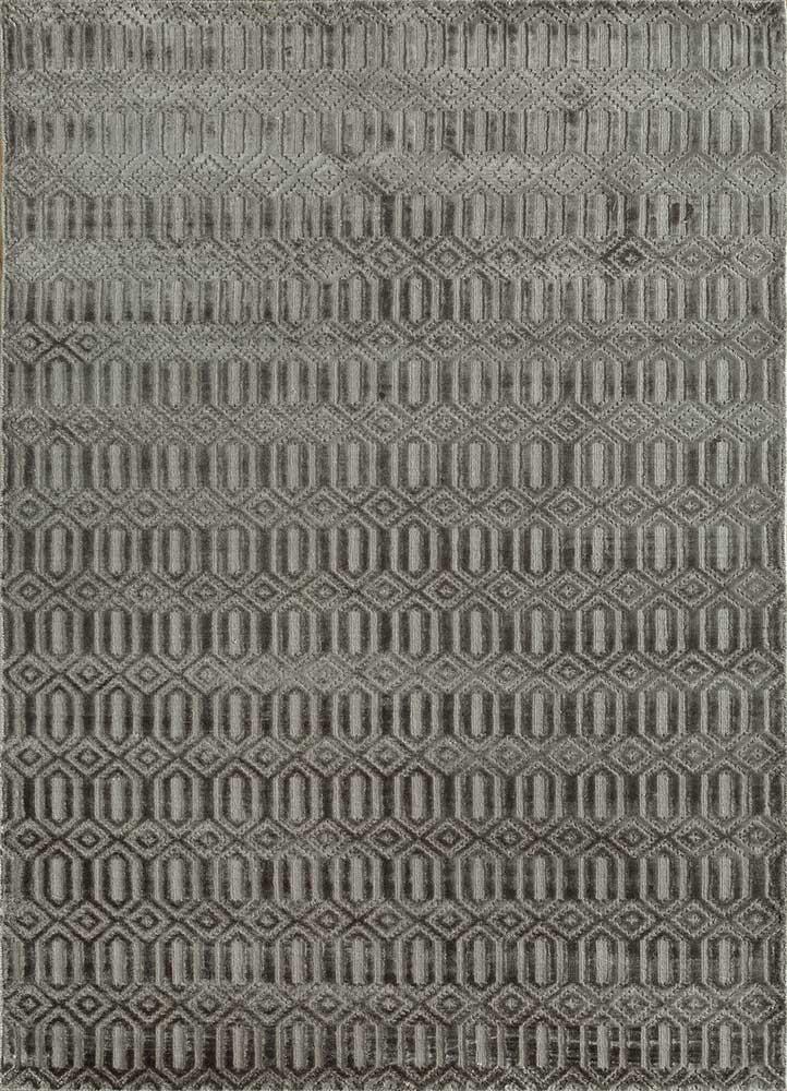 oxford grey and black viscose hand loom Rug - HeadShot