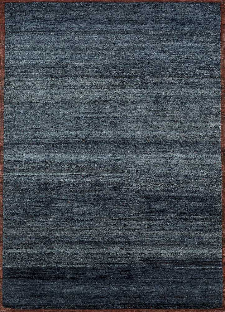 TX-1550 Navy/Red Ochre blue wool hand knotted Rug
