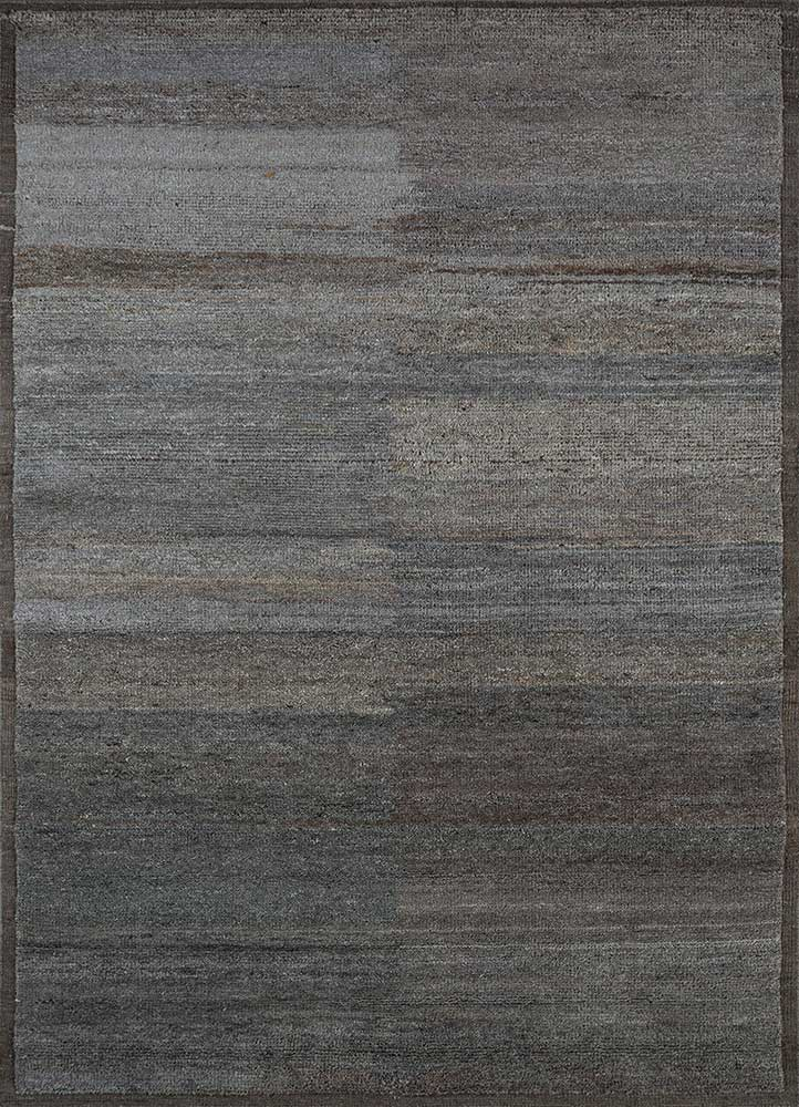TX-1550 Liquorice/Medium Espresso grey and black wool hand knotted Rug