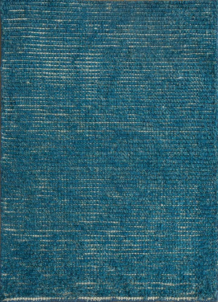 legion blue linen hand knotted Rug - HeadShot