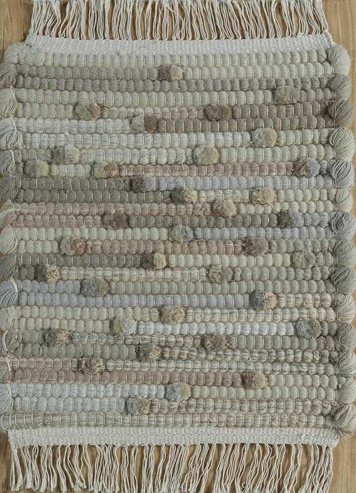 abrash ivory wool flat weaves Rug - HeadShot