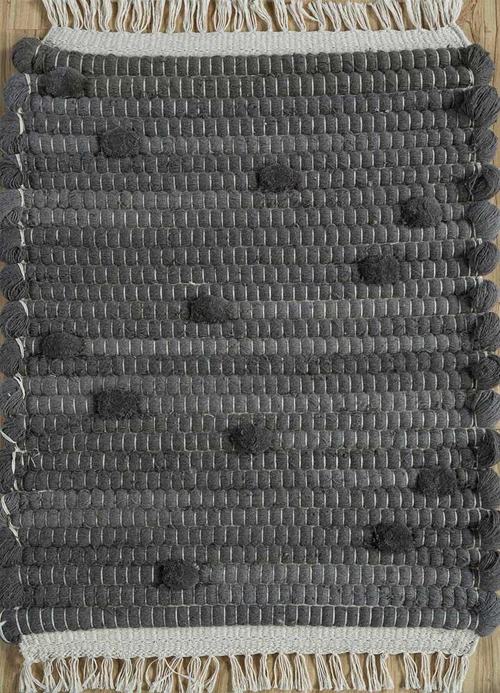 TX-1916 Medium Gray/Medium Gray grey and black wool flat weaves Rug