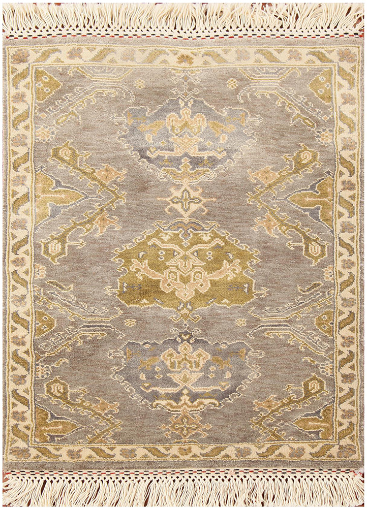 blithe grey and black silk hand knotted Rug - HeadShot