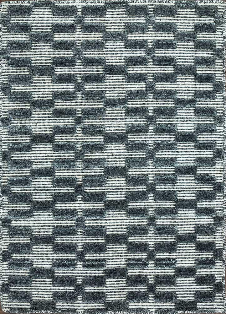 graze grey and black wool and viscose hand loom Rug - HeadShot