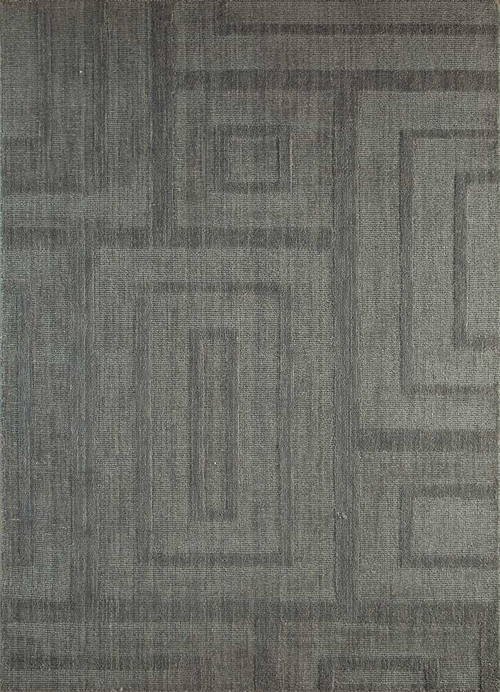 TX-962 Medium Gray/Classic Gray grey and black wool and viscose hand loom Rug