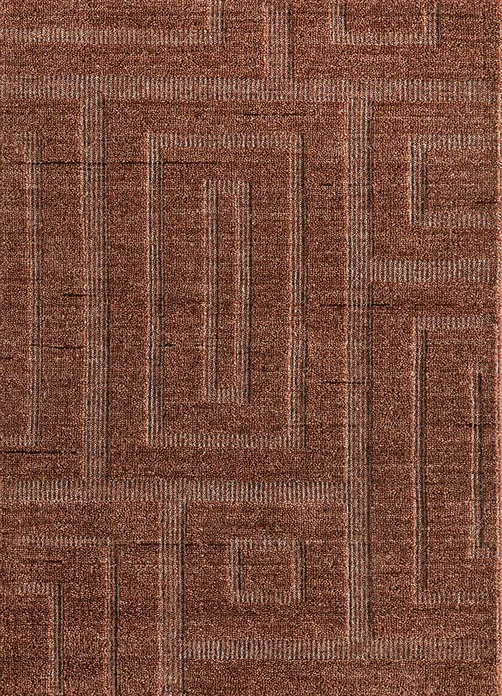 TX-962 Coral/White Smoke red and orange wool and viscose hand loom Rug