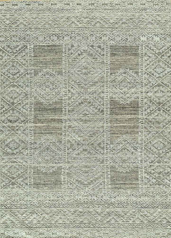 revolution blue wool and viscose hand knotted Rug - HeadShot