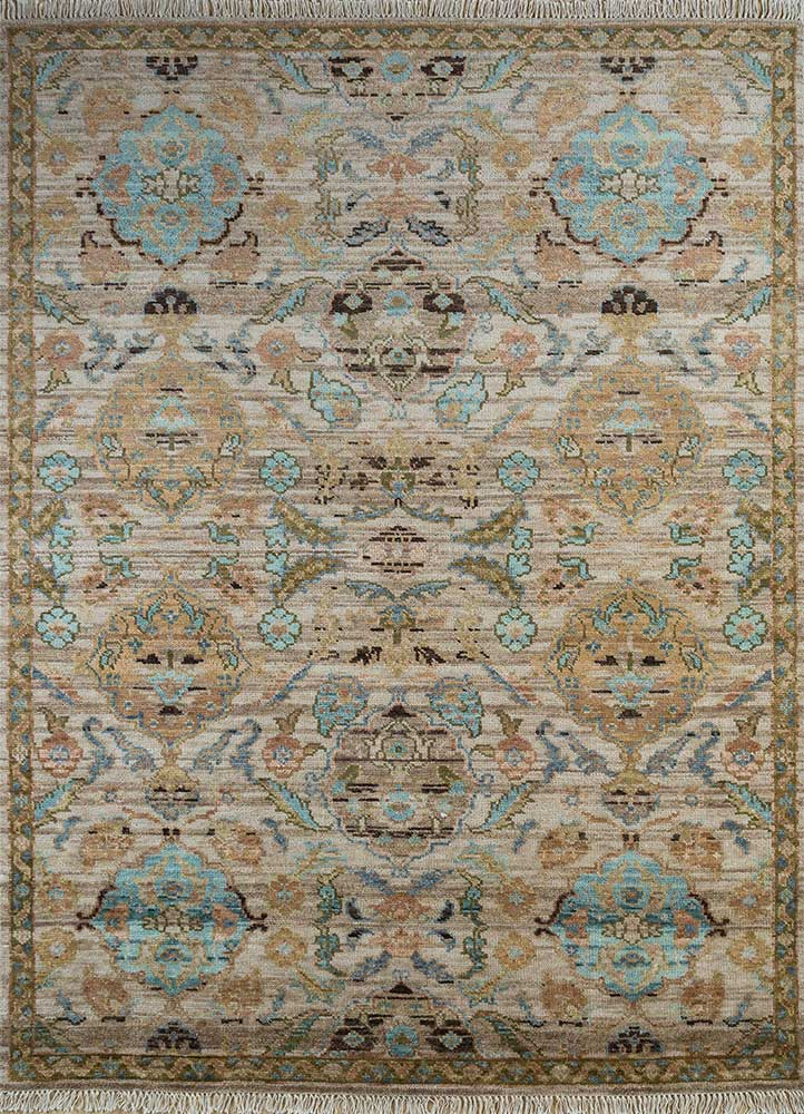 erbe beige and brown wool hand knotted Rug - HeadShot