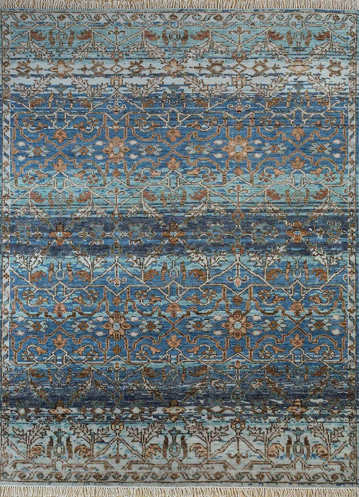 viscaya beige and brown wool hand knotted Rug - HeadShot