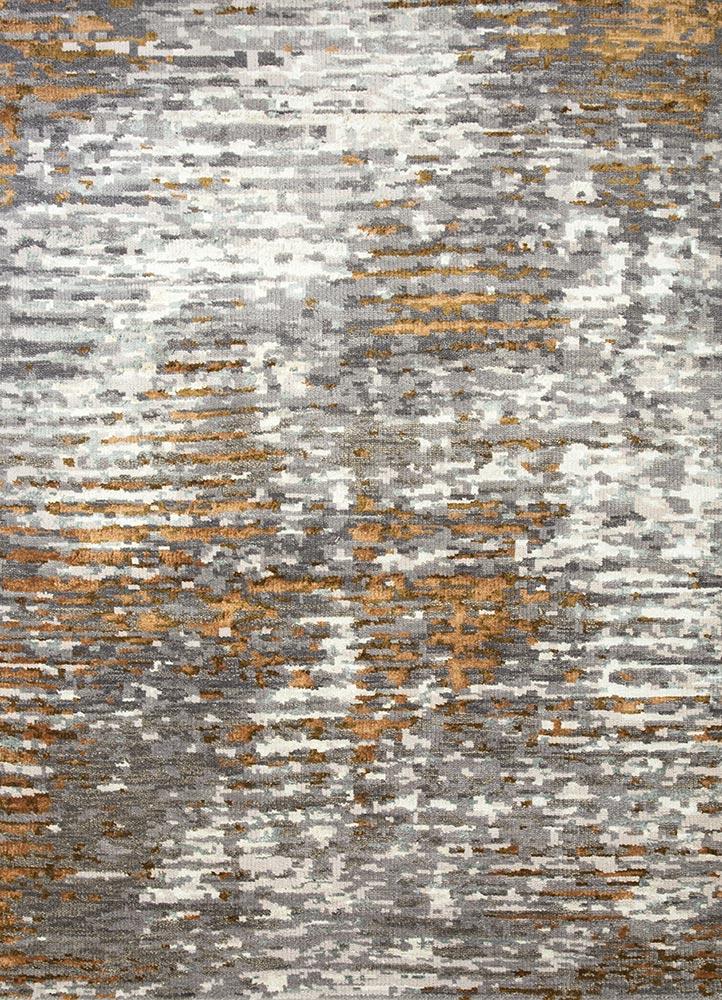 USL-155 Charcoal Slate/Ashwood grey and black wool and bamboo silk hand knotted Rug