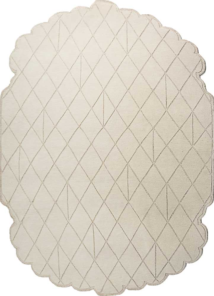 Royal Patio ivory wool and bamboo silk hand knotted Rug
