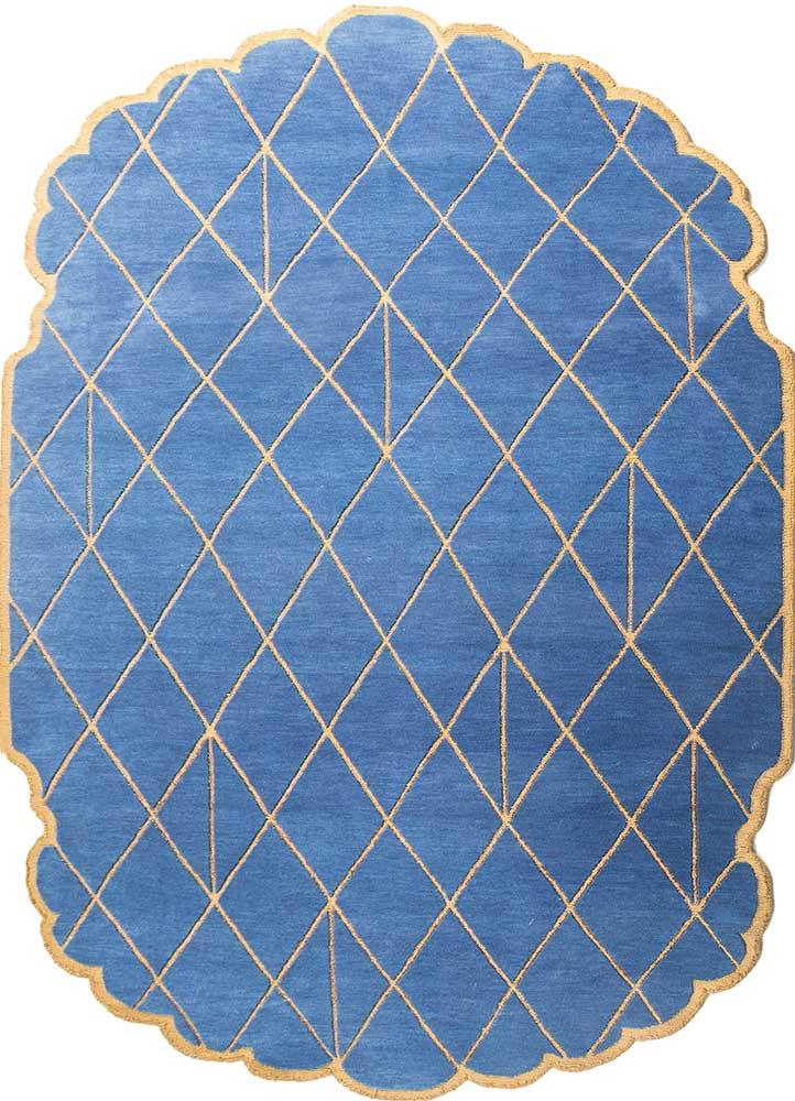 jaipur wunderkammer blue wool and bamboo silk hand knotted Rug - HeadShot