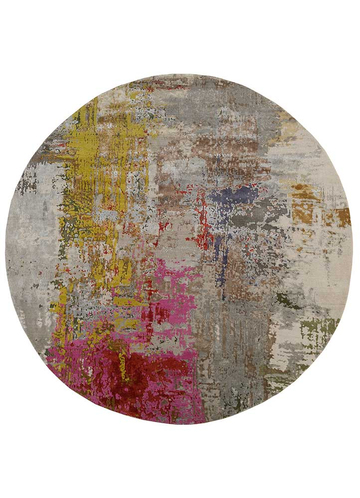 project error by kavi grey and black wool and bamboo silk hand knotted Rug - HeadShot