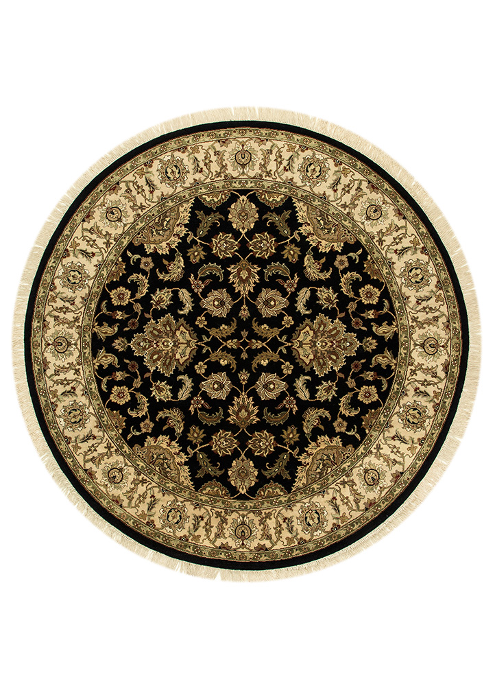JC-102 Ebony/Sand grey and black wool hand knotted Rug